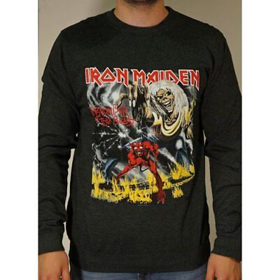 NEW Iron Maiden Men's Sweatshirt: Number of the Beast with Puff Print Finishing