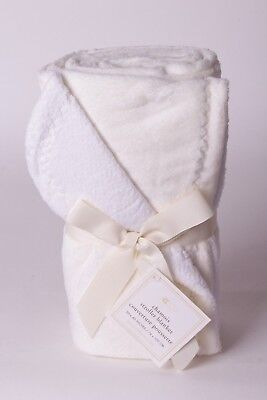 NWT Pottery Barn Kids Chamois solid ivory stroller baby blanket crib