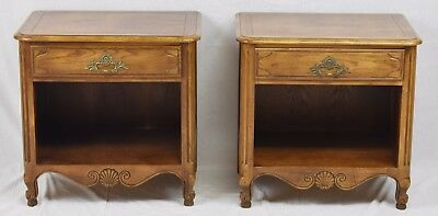 Pair of Baker French Louis XV Nightstands / End Tables / Side Tables Walnut