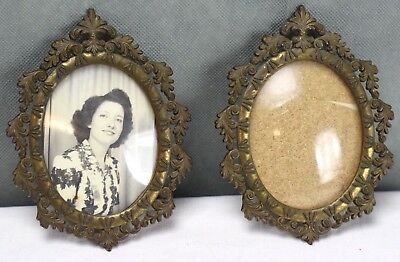 2 Vintage Ornate Brass Convex Bubble Glass Picture Frames Made In Italy 5x4