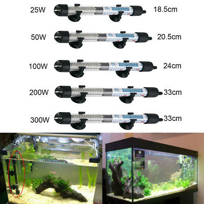 Stainless Adjustable Aquarium Submersible Fish Tank Water Heater Rod 25 - 300W