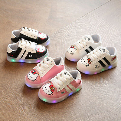 2b375938bbbc LE Hello Kitty Sneakers LED Light Lace Up Luminous Children Kids boy Girls  Shoes