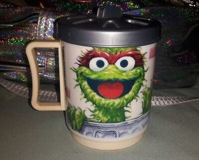 Vintage Sesame Street Oscar the grouch cup with trash can lid cute