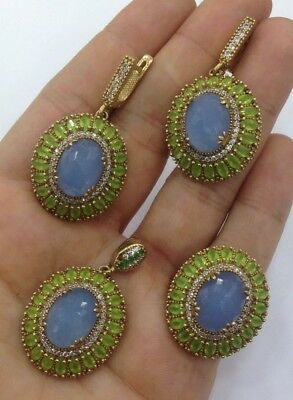 Sterling 925 Silver Jewelry Sublime Blue Chalcedony Stone Ladies Full Set