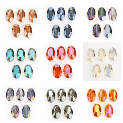 Wholesale Flat Oval Faceted Glass Crystal Loose Beads Spacer DIY Charms 22x13mm