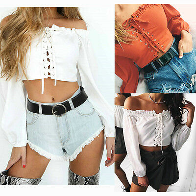 Women Sexy Off Shoulder Lace-up Corset Long Sleeve Crop Tops Casual Shirt Blouse