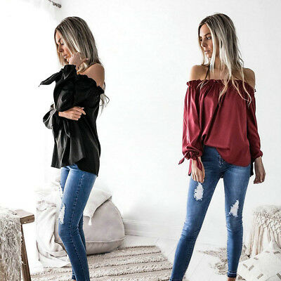 Fashion Womens Lady Off the shoulder Blouse Long Sleeve Shirts Casual Loose Tops