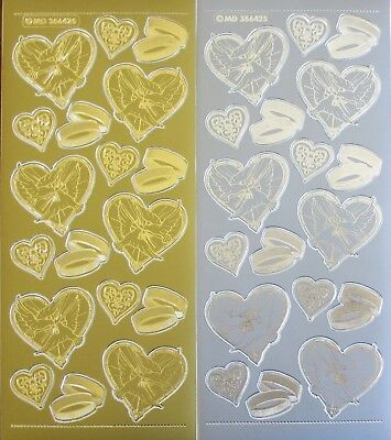Gold or Silver Embossed Wedding Doves Rings PEEL OFF STICKERS Hearts Valentine