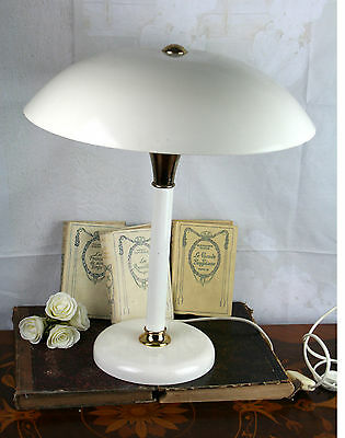 Vintage Mid century Retro Table lamp white metal laquered shade mushroom 1970's