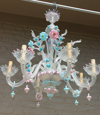 Ultra rare Murano Venetian hand blown glass chandelier 1970 6 arms colourful