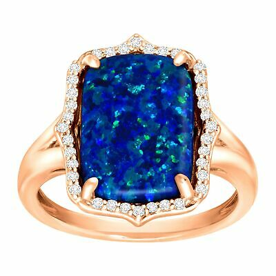 3e531d12cc556 4CT NATURAL OPAL 2ct DIAMOND COCKTAIL RING PAVE DOME 3 ROW CLUSTER ...