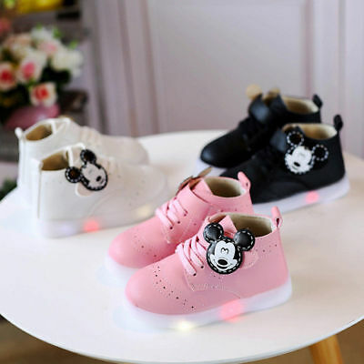 LE Led Sneakers LED Light Lace Up Kids Shoes Luminous Girls boy Shoes mickey