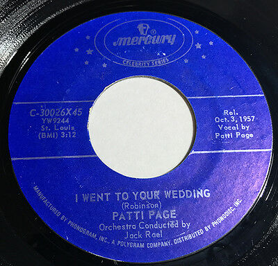 Patti Page vinyl record I Went To Your Wedding - Mockin Bird Hill 45 rpm EX