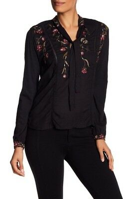 Lucky Brand Tie Neck Embroidered Top- Extra Small -New with Tags- WW Ship $14