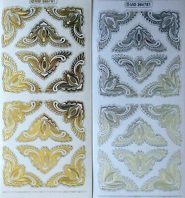 Embossed on Clear Corner PEEL OFF STICKERS Feather Large Gold & Silver Corners
