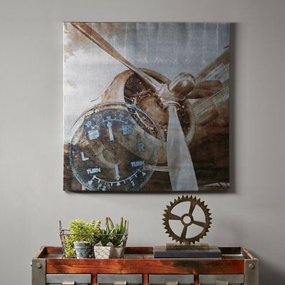 "30"" Brown Silver Gray Industrial Chic Vintage Aviator Airplane Canvas Wall Art"
