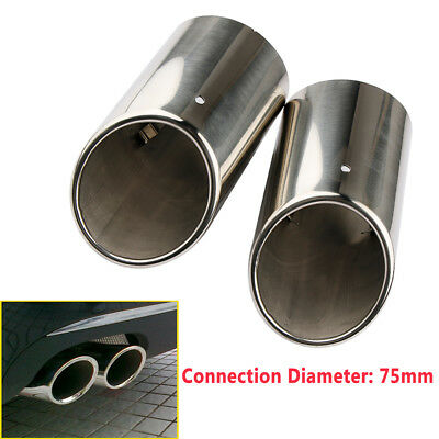 2× 75mm Stainless Steel Black Exhaust Tail Rear Muffler Tip Pipes Audi A4 B8 Q5