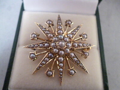 Antique Victorian 15 ct Gold and Pearl Star Brooch / Pendant Gorgeous