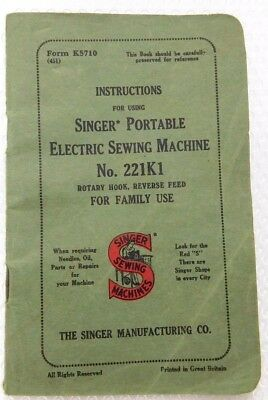 Singer 221 Featherweight Manual Instructions **original** - Excellent  Condition