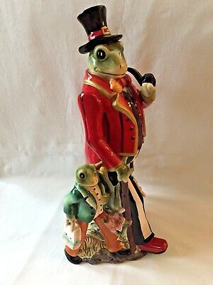 """Whimsical Frog Statue ~ Coattails and Top Hat w. Pipe and Young Frog ~ 14"""" Rare"""