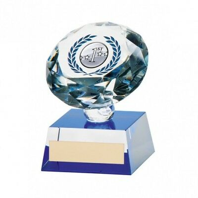 CRYSTAL FOOTBALL TROPHY - Solitare Award * FREE LUXURY ENGRAVING * - CR9366