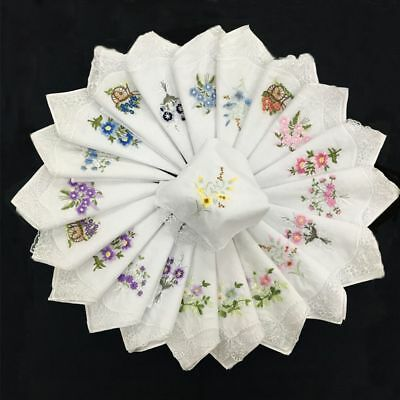 6pcs Embroidered Portable Handkerchief Ladies Napkin Floral Assorted Cloth