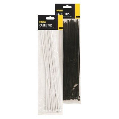 "200mm Cable Ties, Black White Clear Plastic, Tie Nylon Zip Cord Tidy, 8"" 20cm"