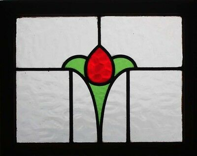 Pretty Art Deco English Tulip Stained Glass Window