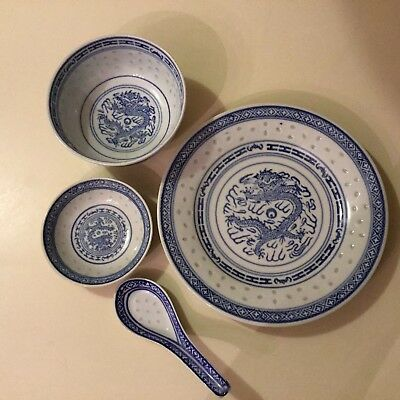 4 Piece Chinese Blue/White Dragon Rice Grain Plate Bowl Spoon Dipping Bowl
