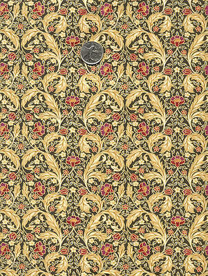 Rare BRITISH English Art Nouveau WILLIAM MORRIS Fabric Seasons ACANTHUS Floral