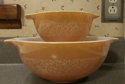 2 Pc. Complete Set Vintage Pyrex Woodland Brown Pattern Mixing Bowls - NICE!