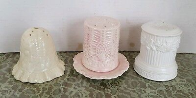 3 Vintage Ceramic Hat Pin Holders, 1 each: white, pink/white, antique white