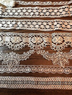 Lot Of 8 Beautiful Hand Made Vintage Lace Pieces