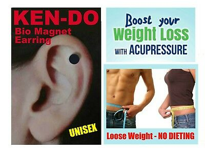 Black Unisex KEN-DO Magnetic WEIGHT LOSS Healing EARRING NO DIETING SLIMMING etc