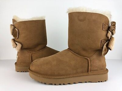 b311e9e54c4 Womens UGG Bailey Bow II Velvet Ribbon Chestnut 1092973 Size 5-7 100%  Authentic