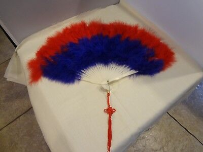 """Feather Hand Folding Fan - Red and Purple dance decoration  Mardi Gras 17"""" x 10"""""""