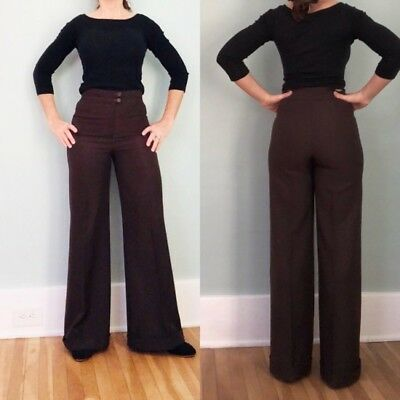 VTG 60s 70s Brown HIGH WAISTED Polyester HIPPIE Disco Bellbottoms FLARE Pants S