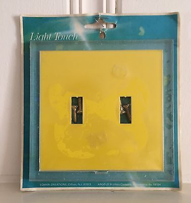 Vintage Edmar Light Touch light switch plate double cover acrylic yellow