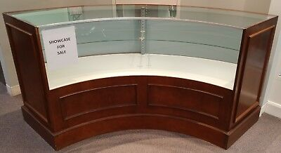 Curved Wooden & Glass Locked Showcase- Stand Included
