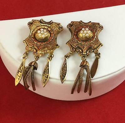 Vintage Victorian Influence Pair Lot Dangle Dress Clip Rhinestones Art Deco