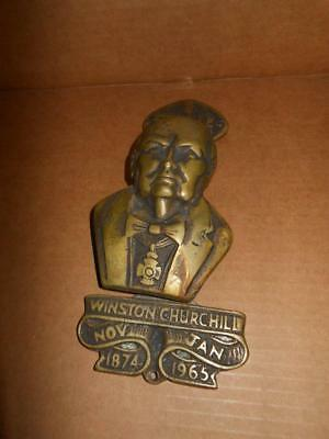 Rare Large Vintage Winston Churchill Brass Door Knocker Gt Britain England