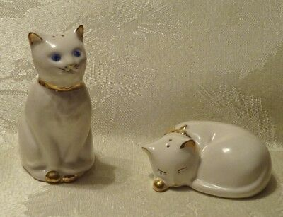 Vintage White Cat Salt Pepper Shakers Blue Eyes Gold figurine Sleeping Kitty Cat