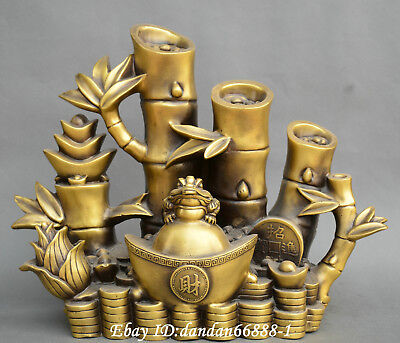 Collect China fengshui old Bronze yuanbao bamboo pole golden toad lucky Statue