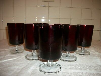7 Vintage  Ruby Red Footed Glasses- Clear Foot- France