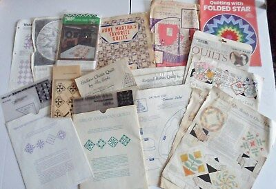 Large Lot Of Vintage Quilting Patterns Templates Directions