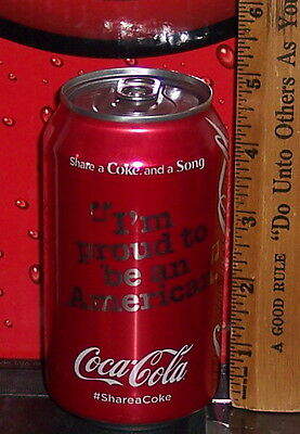 "Share A Coke & A Song ""i'm Proud To Be An American"" Aluminum Cola Can Full"