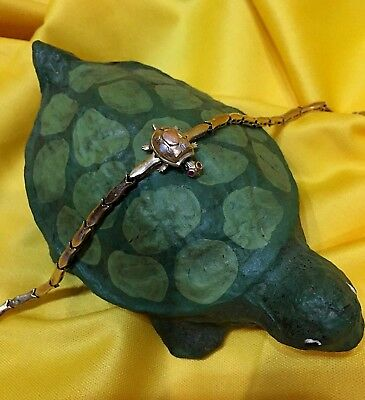 14K Yellow Gold TURTLE TORTOISE Bracelet Ruby Eyes HEAD LEGS & TAIL MOVE!! Rare