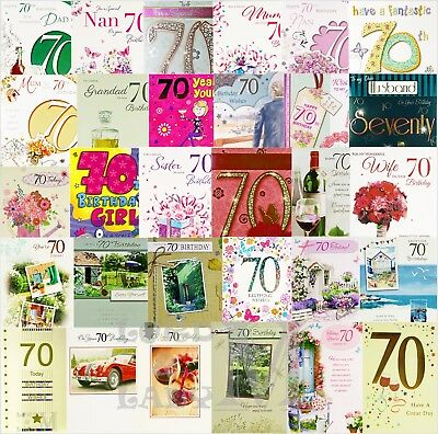 70th Birthday Card General Open / Dad / Mum / & Family - Various Designs Avail