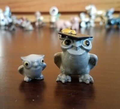 Vintage Hagen Renaker Miniature Wise Professor Owl and Baby Figurines