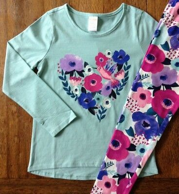 NWT Gymboree 4 5 7 10 Aqua Floral Heart Top & Leggings Outfit Valentine Girls